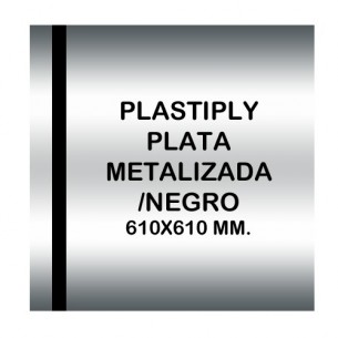 Plastiply Mate PLATA METALIZADA/NEGRO 610x610mm.
