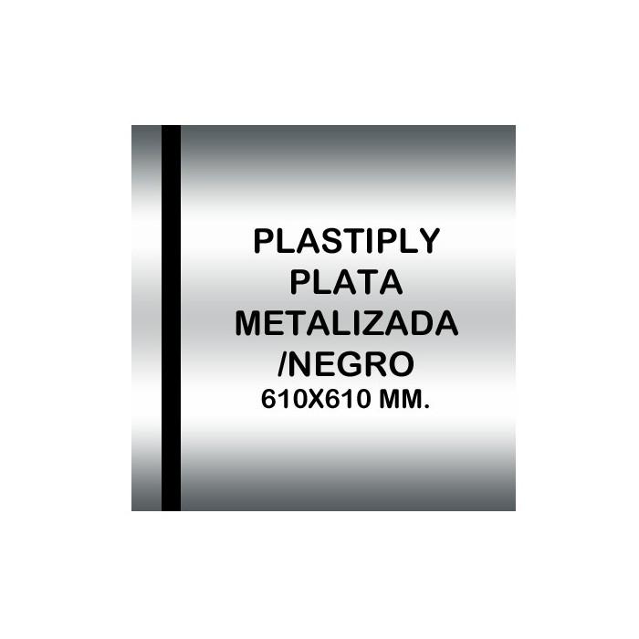 Plastiply Mate PLATA METALIZADA/NEGRO 610x610mm.