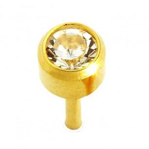 Pendiente botón mini dorado piedra blanca Caflon 12 pares