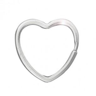 Llavero de plata corazón 3.7 x 3.5 cm.