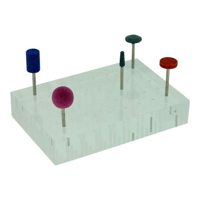 Soporte base transparente para 40 abrasivos eje 2,35 mm.
