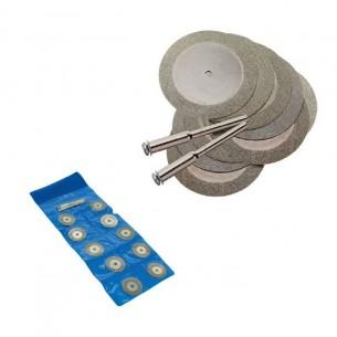 Juego de 10 discos diamantados 20,4 mm. con 2 mandriles