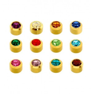 GOLD PLATED BIRTHSTONES ASSORTED COLOUR