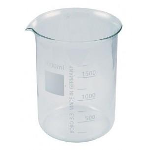 Vaso de cristal graduado forma baja 1 lit. con pico