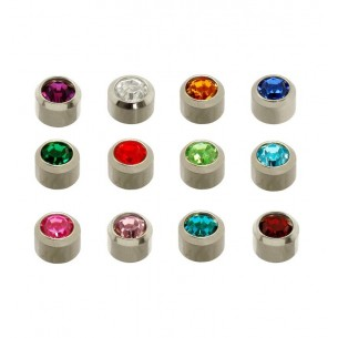 BOTTON STUD WITH SILVER MINI ASSORTED STONE