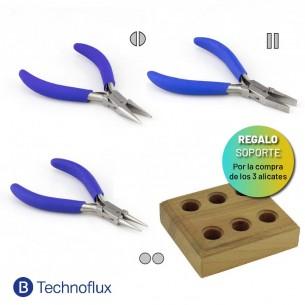 Kit 3 alicates Technoflux regalo soporte de madera