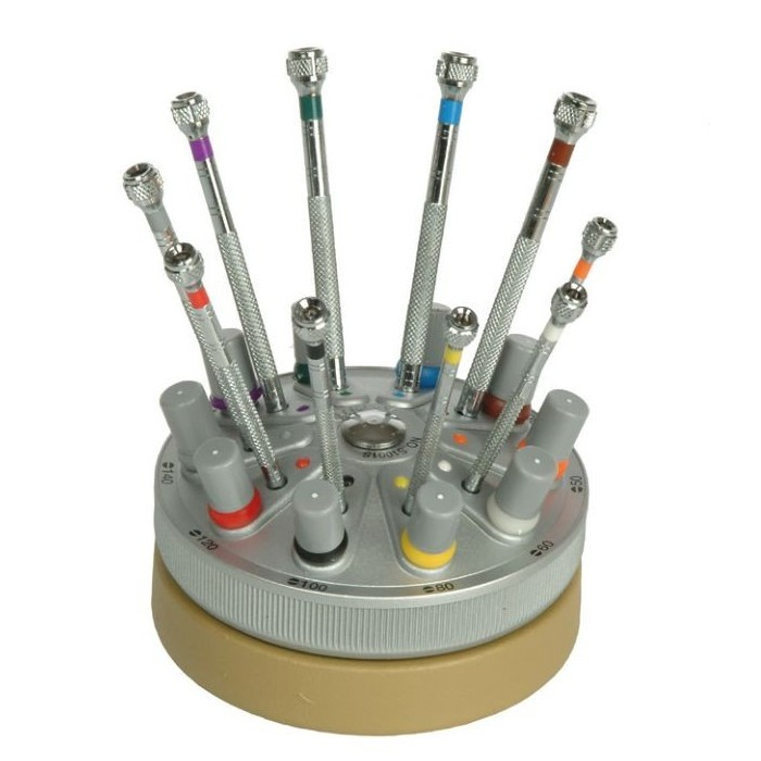 Juego 10 destornilladores planos de precisión con base giratoria